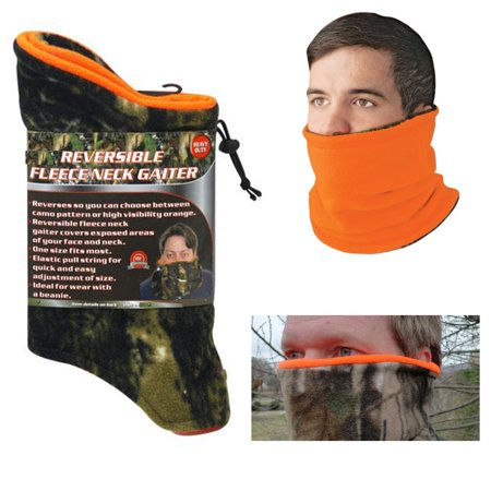 Camouflage Scarf - 1 Neck Gaiter Fleece Reversible Tube Warmer Camo Face Shield Mask Scarf Muffler