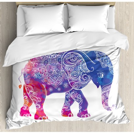 Ethnic Duvet Cover Set, Ethnic Far Eastern Elephant Figure with Asian Lines Watercolor Style Artwork, Decorative Bedding Set with Pillow Shams, Purple and Pink, by Ambesonne