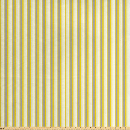 Yellow Fabric by The Yard, Classical Pattern with Vertical Stripes in Retro Style in Pastel Colors, Decorative Fabric for Upholstery and Home Accents, by Ambesonne ()