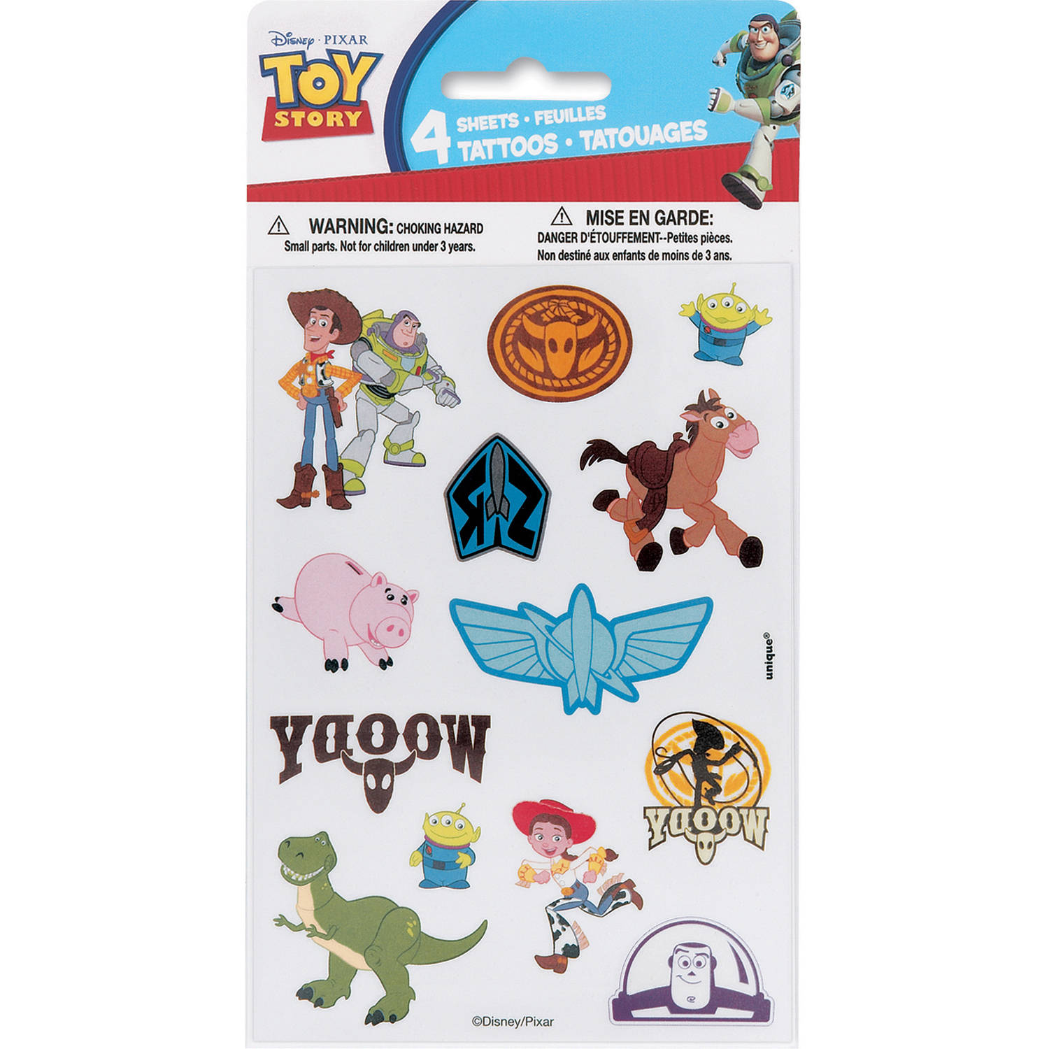 Toy Story Tattoo Sheets, 4-Count