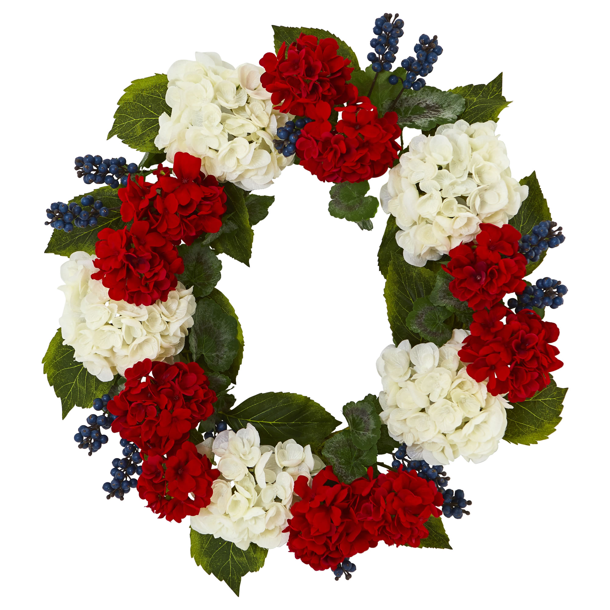 Nearly Natural 21 In. Geranium and Blue Berry Artificial Wreath