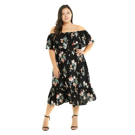 Plus Size Floral Flowy Off The Shoulder Midi Ruffle Spring Dress - 3X