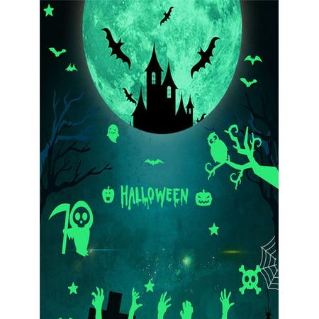 Ghost Bat Moon Star Combination Removable Luminous Wall Sticker Halloween Decor
