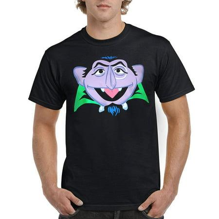 Sesame Street Count Von Count Face Adult T-Shirt - Sesame Street Shirts