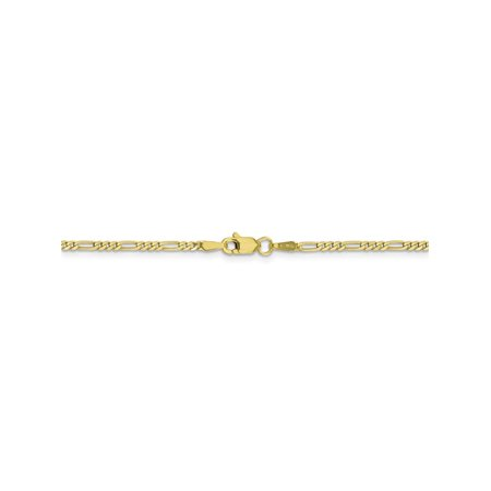 1.75 mm 10k Yellow Gold Concave Figaro Chain Necklace - 22 Inch