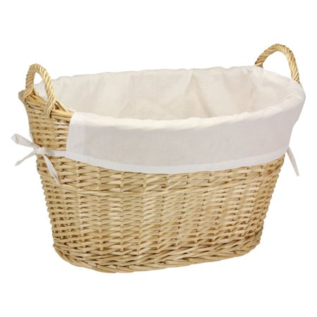 Household Essentials Natural Willow Laundry Basket with Cotton Liner ()