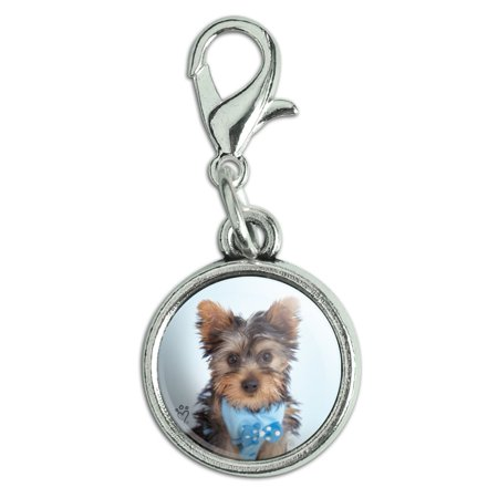 Yorkie Yorkshire Terrier Puppy Dog Blue Bow Tie Antiqued Bracelet Pendant Zipper Pull Charm with Lobster Clasp
