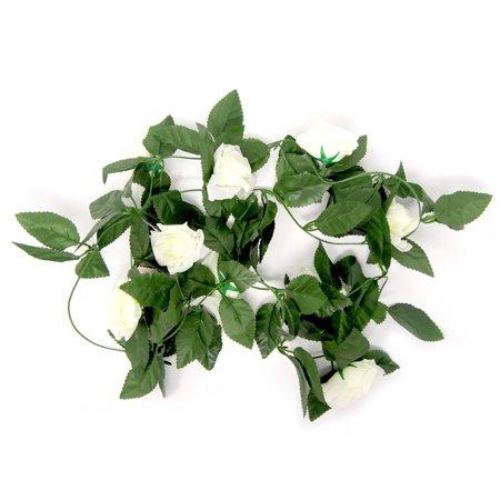 Artificial Rose Silk Flower Vine Garland, Ivory, 78-Inch