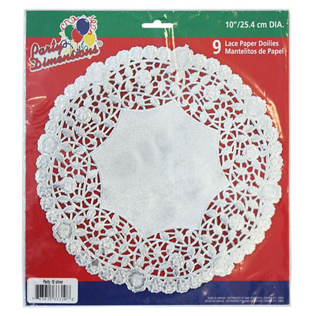 Party Dimensions 71841 10 inch Lace Doily Silver - 432 Per Case