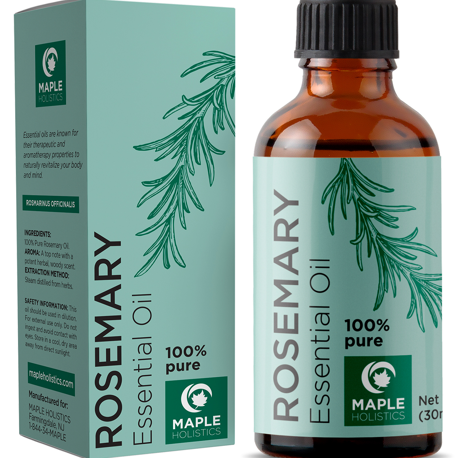 Maple Holistics Rosemary Essential Oil For Hair Growth Serum 1oz Walmart Com Walmart Com