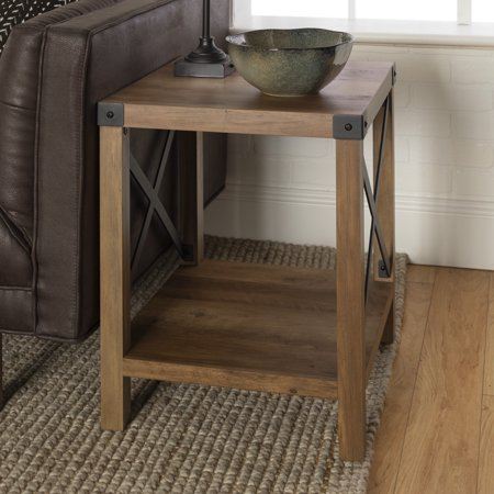Manor Park Rustic Farmhouse Wood Square End Table - Reclaimed Farmhouse