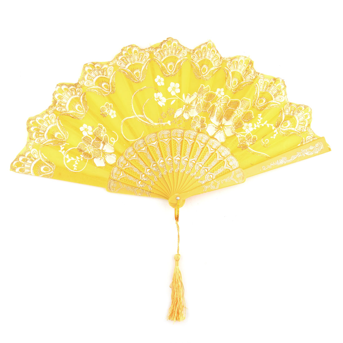 Household Plastic Cherryblossom Pattern Folding Cooling Dancing Hand Fan Yellow