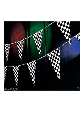 RACING Nascar Daytona Race Car Black & White CHECKERED Pennant FLAG BANNER 100ft, By Generic