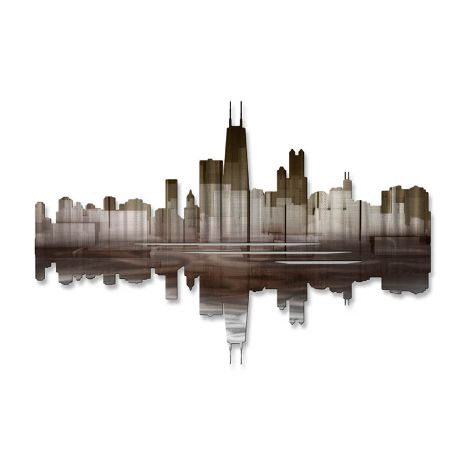 Chicago Reflection III Metal Wall Art - 30W x 20H in.