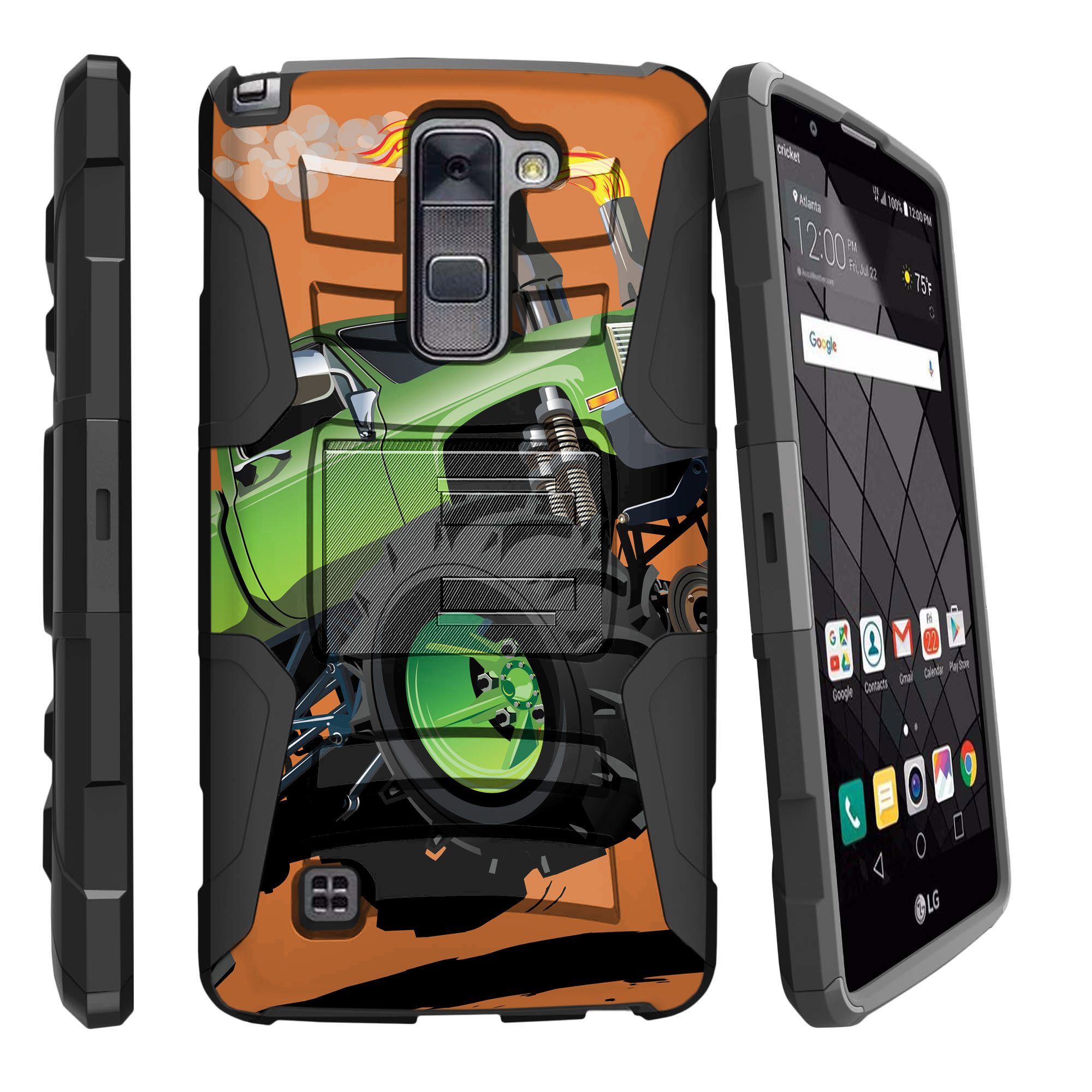 LG Stylus 2 Plus K530, LG Stylo 2 Plus Miniturtle® Clip Armor Dual Layer Case Rugged Exterior with Built in Kickstand + Holster - Monster Truck