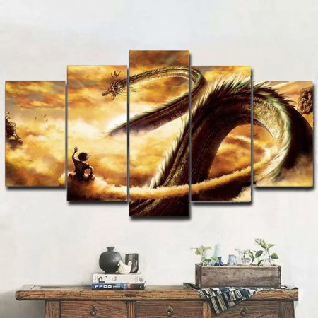 Dragon Painting - Mrosaa 5 Panels Cartoon Dragon Gold Canvas Print Paintings Wall Art for Living Room