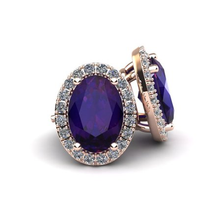 1 1/2 Carat Oval Shape Amethyst and Halo Diamond Stud Earrings In 14 Karat Rose Gold