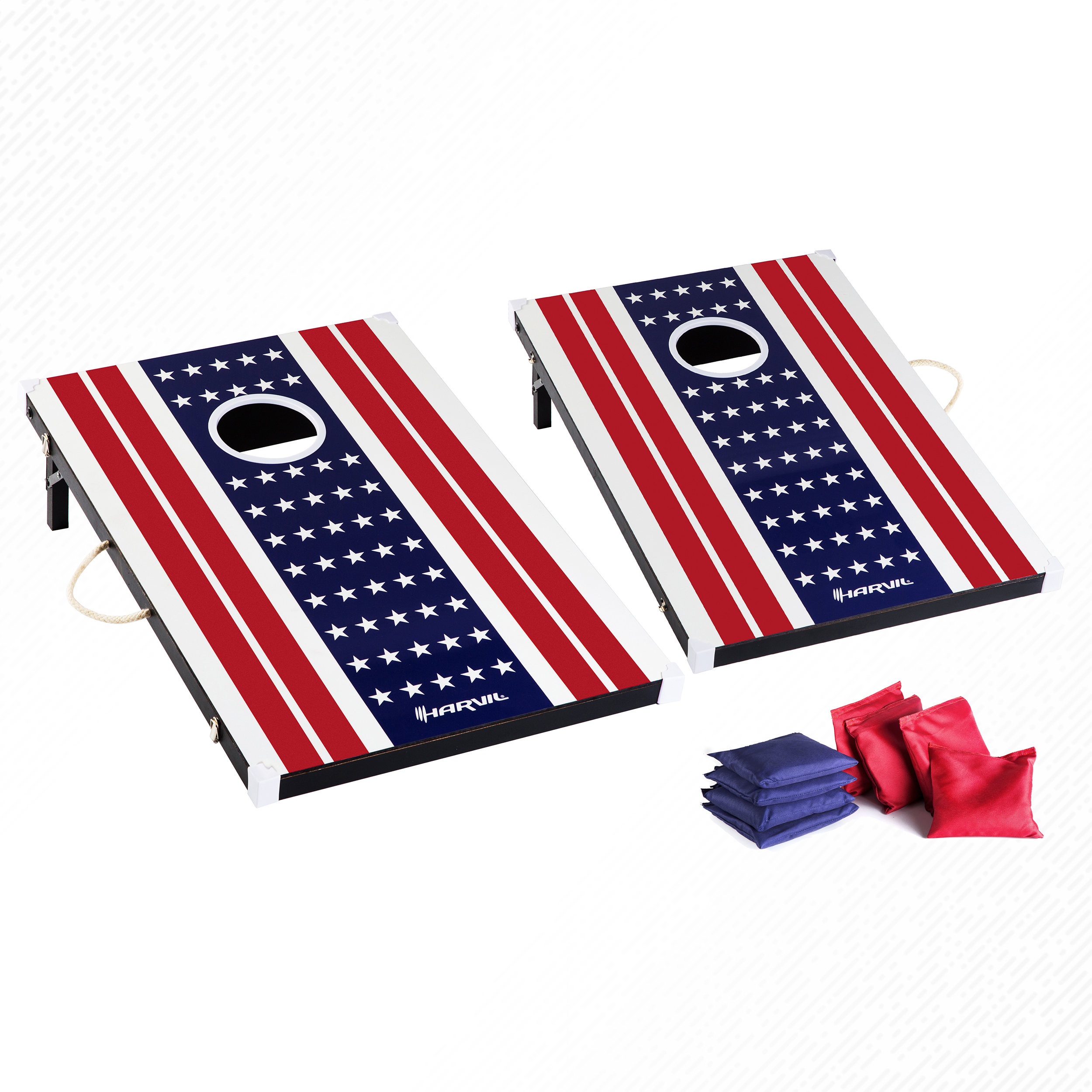 Harvil Cornhole Game Set - US Flag. Includes 8 Double-Lined Bean Bags