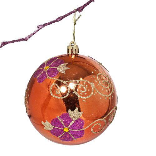 Perfect Holiday 3 9 Shatterproof Handpainted Flower With Acrylic Diamonds Christmas Ball Ornament Walmart Com Walmart Com