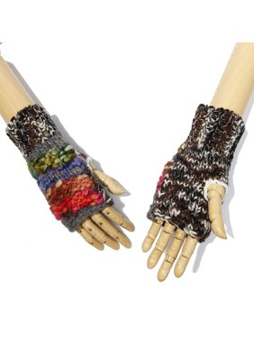 Multi-Color Soft Walk off the Moon Line Pattern Design Knitted Fingerless Gloves