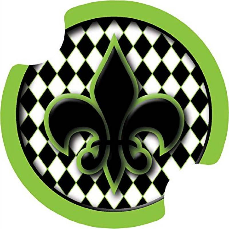 Thirstystone Fleur de Lis Harlequin Car Cup Holder Coaster, 2-Pack