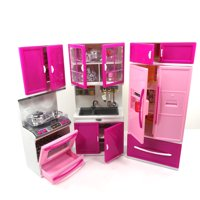 Toy Kitchen Play Set 3 Piece Doll Size Kitchen With Lights