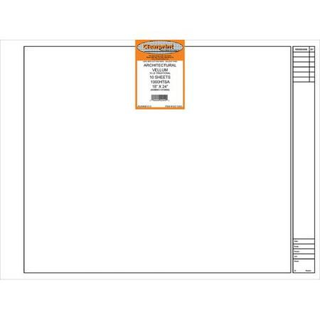 - CHARTPAK, INC. 10211222 CLEARPRINT VELLUM 1000HTSA 10 SHEETS 18X24 TITLE PLAIN
