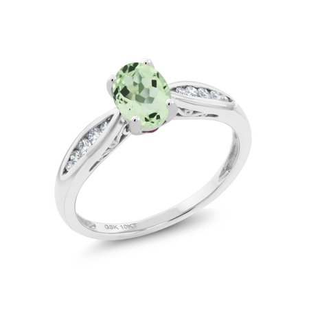 10K White Gold 0.82 Ct Oval Green Prasiolite and Diamond Engagement Ring - Glow In The Dark Engagement Ring