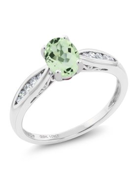 4a86c955f854 Product Image 10K White Gold 0.82 Ct Oval Green Prasiolite and Diamond  Engagement Ring. Reduced Price