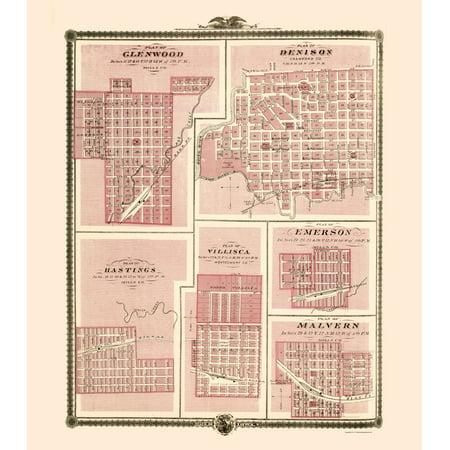 Old City Map Glenwood Denison Hastings Iowa Andreas 1874 23