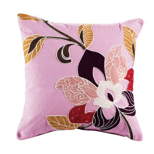 Elight Home Blossom Embroidered Cotton Throw Pillow