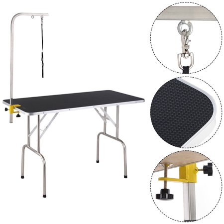 Costway 47.5'' Adjustable Pet Dog Cat Grooming Table Top Foam W/Arm&Noose Rubber