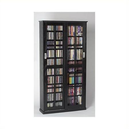 Leslie Dame 62″ CD DVD Wall Media Storage Cabinet in Black