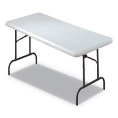 7110-01-671-6417 Blow Molded Folding Tables, Rectangular, 30 x 60 x 29, Platinum ()