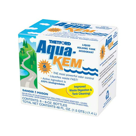 Aqua-Kem RV Holding Tank Treatment - Deodorant / Waste Digester / Detergent - 6x8 oz pack - Thetford (Best Rv Toilet Deodorizer)