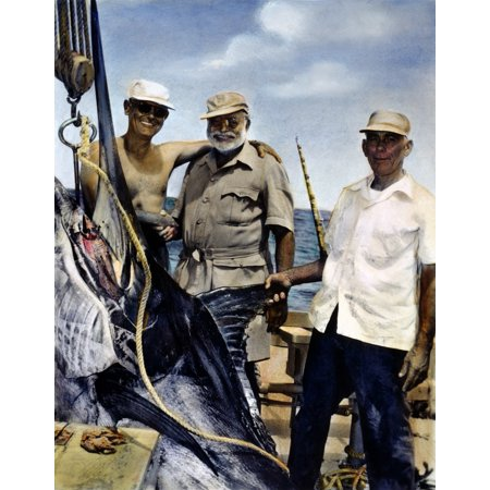 Ernest Hemingway N(Center) With Cuban Sportsman Elicio Arguelles Jr And Fishing-Boat Captain Gregorio Fuentes In Cuba During The Filming Of The Old Man And The Sea In 1956 Rolled Canvas Art -  (24 x