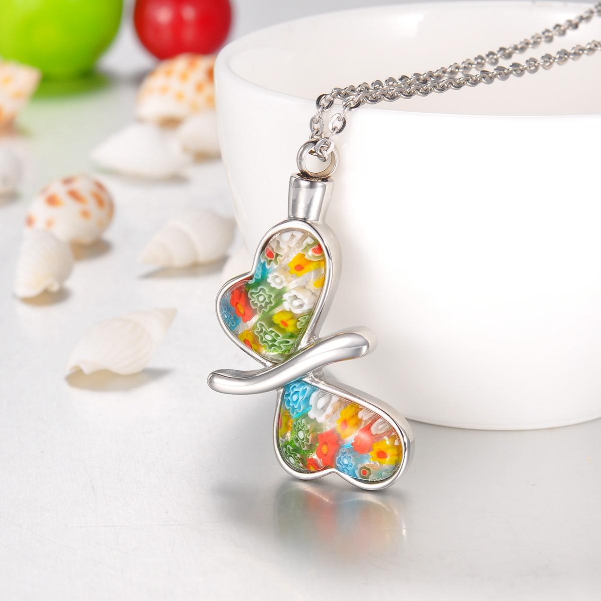 Flower Patch Butterfly Cremation Jewelry Ashes Keepsake Memorial Urn Necklace