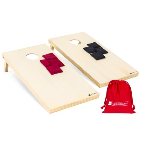 Best Choice Products 4x2ft Portable Wood Cornhole Game with 8 Bean Bags and Carrying Bag,
