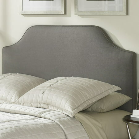 Bordeaux Upholstered Headboard with Adjustable Height and Sweeping Curve Design, Dolphin Finish, (Bordeaux Veneer Finish)