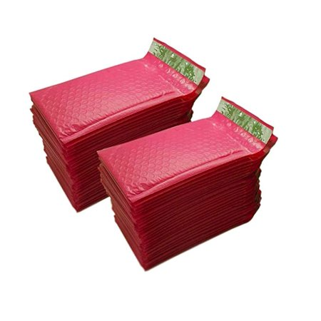 "iMBAPrice 50-Pack #000 (4"" x 8"") Premium Hot Pink Color Self Seal Poly Bubble Mailers Padded Shipping Envelopes (Total 50 Bags)"