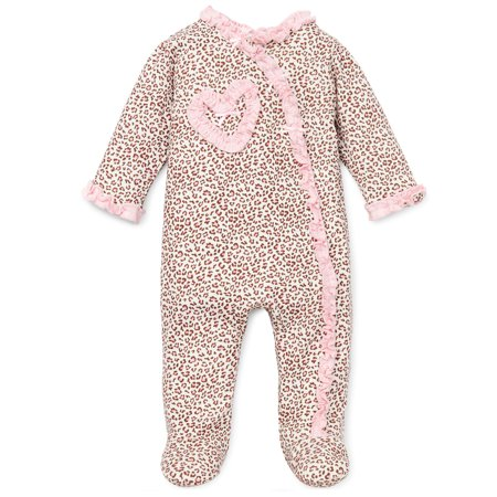 Pink with Leopard Print Snap Front Footie Pajamas For Baby Girls Sleep N Play One Piece Romper Coverall Cotton Infant Footed Sleeper; Pijamas Para Bebes- Pink - 9 - Disfraces Halloween Para Bebes