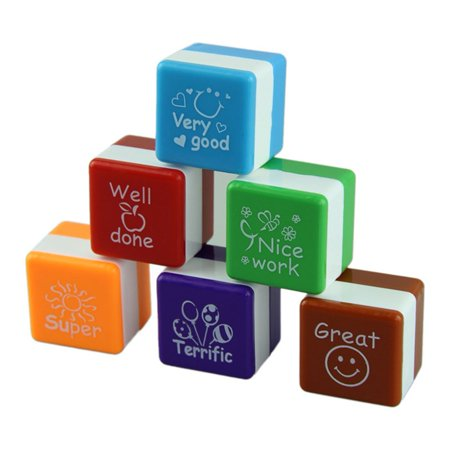 6pcs Self Inking Teacher Stamps School Student Homework Comment Seal Rating Praise Gift