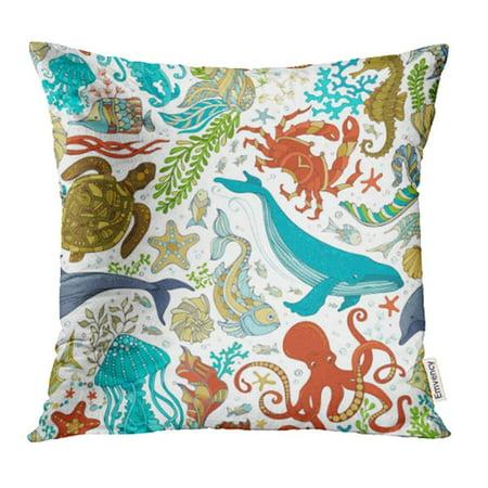 - CMFUN Wild Sea Life Cartoon Octopus Whale Dolphin Turtle Fish Starfish Crab Shell Pillowcase Cushion Cases 20x20 inch