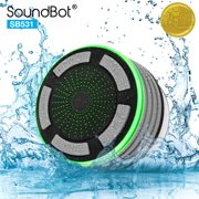 SoundBot IPX7 Waterproof 5W Bluetooth Wireless Shower Speaker with 8Hrs Playback, Built-In FM Radio Tuner, LED, HD Sound, Water Weather Resistant Portable Speakerphone, HandsFree Car Kit SB531 GRAY