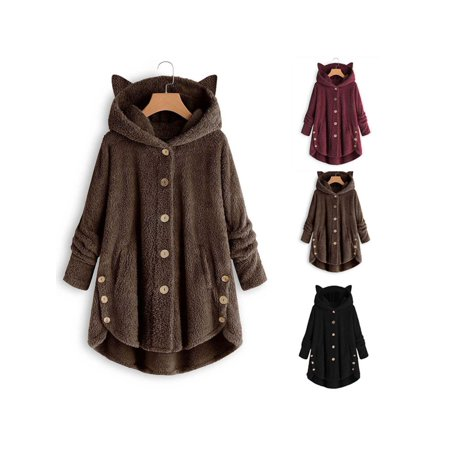 Women Casual Plush Asymmetrical Design Hooded Cute Coat - image 7 of 7
