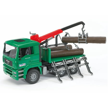 Bruder Toys Man Forestry Timber Truck Vehicle w/ Loading Crane and 3 Tree Trunks