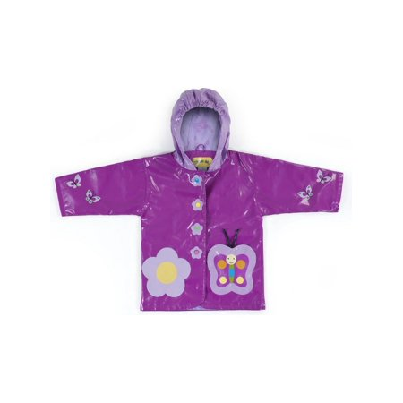 Purple Butterfly Flower - Kidorable Little Girls Purple Butterfly Flower Hooded Rain Coat 2T-6X