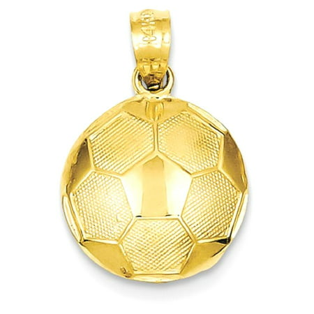 (14kt Yellow Gold Soccer Ball Pendant Charm Necklace Sport Fine Jewelry Ideal Gifts For Women Gift Set From Heart)