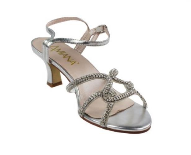 Amiana Girl's Rhinestone Kitten Heel Dress Sandal, Silver Rhinestone, 31 EU / 13 US