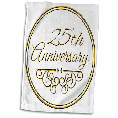 3dRose 25th Anniversary gift - gold text for celebrating wedding anniversaries - 25 years married together - Towel, 15 by